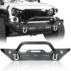 Textured Black Front Bumper w Winch Plate  D Rings For Jeep Wrangler JK 07 18