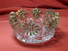 VINTAGE EMBOSSED FLORAL PATTERN GREEN AND GOLD NAPPY CANDY NUT DISH