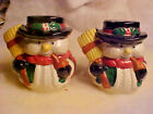 LARGE Jolly Holiday Snowmen Ceramic Salt and Pepper Shakers NEW