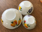 3 Fire King Oven Ware Painted Fruit  Bowls Milk Glass Large Medium Small