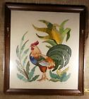 Antique 1865 ROOSTER Hand Crewel Embroidered Picture Signed Bee Modern Farmhous
