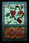 Antique American Stained Glass Floral Window w/ Butterfly and 'Twirled' Jewels