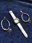 Guess Watch & Braclet Lot White Leather Ladies