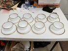 Anchor Hocking Fire King Milk Glass Swirl Tea Cup Set With Saucers 16 Pcs