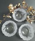 Vintage Berry Bowls Clear Glass with Frosted Roses Set of Three (17)