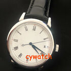 40mmcorgeut  miyota 821A Automatic white dial blue hands steel case mens Watch
