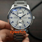 43mm parnis white dial steel strap power reserve Sea gull automatic mens watch