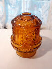 Vintage Indiana/Princess House Amber Glass Fairy Lamp Candle Holder