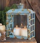 Songbird blue glass and metal antique style home or garden lantern