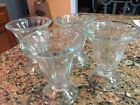 Vtg Lot Of 4 Glasses Soda Fountain Parfait Dessert Ice Cream Sundae Tulip Style