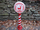 Blow Mold Reindeer Parking Sign Christmas LED Lighted 43 Battery Power Timer
