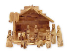 Handcarved Bethlehem Olive Wood Miniature Nativity Scene Set with Stable 12 by