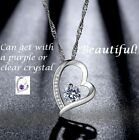 Women 925 Sterling Silver Clear or Purple Heart Pendant Necklace Chain Jewelry
