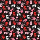 RED PINK  WHITE SKULLS ON BLACK FABRIC MATERIAL From David Textiles NEW