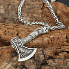 Vintage Norse Viking Pendant Norse Wolf Axe Mens Cord Rope Chain Necklace Amulet