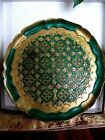 VINTAGE GREEN AND GOLD GILT ITALIAN FLORENTINE ROUND CARVED WOOD TRAY 11.75