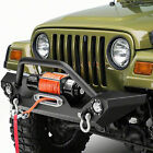 For 1987 2006 Jeep Wrangler TJ YJ Front Bumper Guard Plate w LED Light D ring