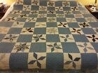 VINTAGE Cutter Quilt Blue, black white cream 8 Point Star pattern calico colors