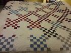 VINTAGE Cutter Quilt Blue, cranberry  cream black Irish Chain block variation