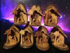 Lot Set of 7 Olive Wood Nativity Ornaments Bark Slice Grotto Made in Bethlehem