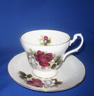 White Roses w/Rose Hips Teacup and Saucer, England