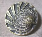 ANTIQUE MAGNIFICIENT SHINY BRASS BIRD BUTTON SPINNING FEATHERS WOOD BKGRND 1-3/8