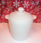 Anchor Hocking Hobnail White Milk Glass Canister Biscuit Cookie Jar Ice Bucket