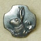 Small Antique VINTAGE Button  White Metal Bunny Rabbit Head *A29