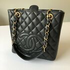 Chanel Classic Black Quilted Caviar Leather Shopper Handbag Box Dust Bag Receipt