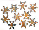 Lot Set of 10 Metal 3 inch SNOWFLAKES Rough Rusty Christmas Holiday Ornaments