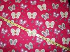 504R Butterflies flowers Fuchsia Fabric Flannel Material New 33 x 41