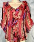 NWT AUGUST SILK L Red Pink Purple Brown Feathers Print FLOWY TOP Blouse Boho 69