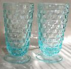 Light Aqua Green Fostoria Whitehall Cubist Footed Ice Tea Glasses