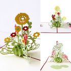 Christmas 3D Paper Greeting Card Carving Pop Up Valentine Sunflower Xmas Gifts
