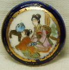 Antique VINTAGE Button Japanese Satsuma Pottery Cobalt Blue A89