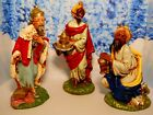 Vtg PAPER MACHE WISEMEN from LARGE 12 CHRISTMAS NATIVITY ITALY