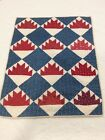 Antique 1800s Red White Blue Table Doll Quilt 19x25 Christmas!Patriotic!