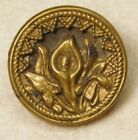 SMALL Antique VINTAGE Button Brass PEACE LILY Flower  *B28