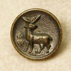 SMALL Antique VINTAGE Button Brass Deer with ANTLERS *B32