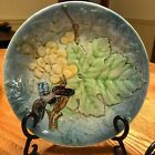 Antique Goodfrend Spain Blue Majolica Grapes, Leaf with Bee Handpainted Plate