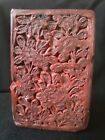 Vintage Genuine Chinese Carved Cinnabar Lacquer Matchholder