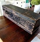 Vintage Antique Wood Hinged Box Primitive Rustic Wooden Tool Storage 32