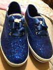 KEDS X Kate Spade New York Champion Glitter Satin Tie Sneakers Sz 55 Blue NIB