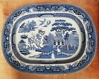 Huge Antique Blue Willow Platter - Deep with Oriential Mark - 18 1/2 Inches