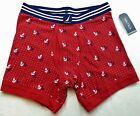 Nautica Men's Boxer Briefs Small Red Navy White Anchors Stretch Cotton New MP$28