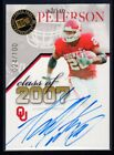 ADRIAN PETERSON 2007 PRESS PASS CLASS OF 2007 AUTO AUTOGRAPH 100 SOONERS RC