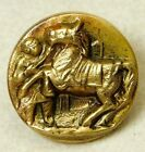 Antique VINTAGE Brass Picture Button GROOM and HORSE Eingetr Muster Back *A60