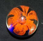 Vintage Murano Glass Art Paperweight Orange Flower