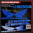 LEFT+RIGHT FAIRING/FUEL TANK REFLECTIVE STICKER+WING VINYL DECAL FOR HONDA BLUE