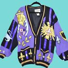 Vintage 90s No Jeans Sweater Cardigan Oversized New Orleans Mardi Gras 1993